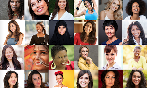 picture of women smiling from all over the world